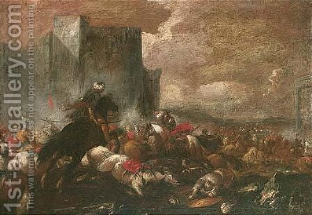 A cavalry battle before the walls of a fortress by (after) Jacques (Le Bourguignon) Courtois - Reproduction Oil Painting