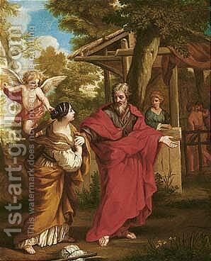The return of Hagar to Abraham by (after) Cortona, Pietro da (Berrettini) - Reproduction Oil Painting