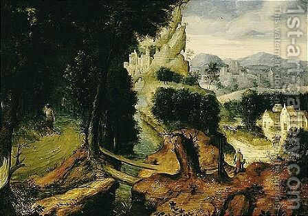 A Landscape With The Parable Of The Good Samaritan by Herri met de Bles - Reproduction Oil Painting