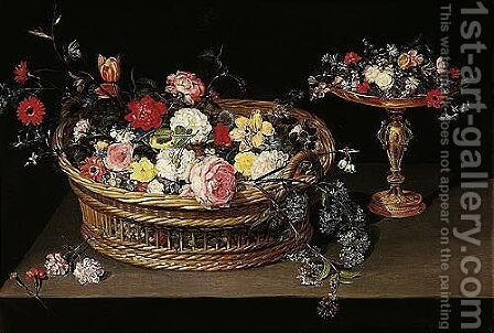 A Still Life Of Various Flowers In A Basket And Other Flowers On A Gilt Tazza, All Resting On A Table-top by Jan, the Younger Brueghel - Reproduction Oil Painting