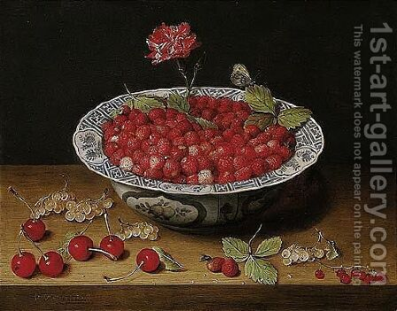 A Still Life Of Wild Strawberries And A Carnation In A Ming Bowl, With Cherries And Redcurrants On A Wooden Ledge by Jacob van Hulsdonck - Reproduction Oil Painting