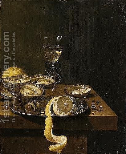 A Still Life Of A Peeled Lemon With Chestnuts Upon A Pewter Dish, Together With Oysters, A Wine-glass And A Lemon, All Upon A Table-top by Jan Jansz. Van De Velde - Reproduction Oil Painting