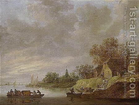 A River Landscape With A Ferryboat Approaching A Village by Jan van Goyen - Reproduction Oil Painting