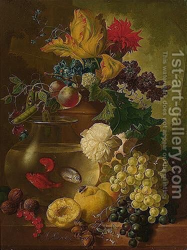 Still Life Of Fruit And Flowers, Together With Walnuts And Hazelnuts, A Bird's Nest And A Goldfish Bowl On A Ledge, A Landscape Beyond by Jan van Os - Reproduction Oil Painting
