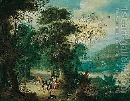 A Wooded Landscape With Venus And Adonis by Jasper van der Laanen - Reproduction Oil Painting