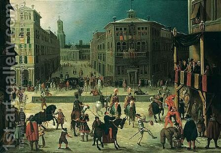 A Scene In A Town With A Tournament, Jousters And Acrobats Performing Before An Audience by (after) Louis De Caullery - Reproduction Oil Painting