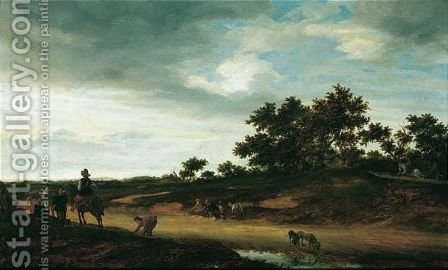 An Open Landscape With Figures Resting By The Roadside With Two Hunting Dogs Drinking Before A Pool Of Water by Jacob Salomonsz. Ruysdael - Reproduction Oil Painting