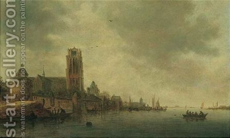 A River Landscape With A Church by (after)  Jan Van Goyen - Reproduction Oil Painting
