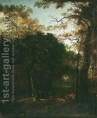 A Wooded Landscape With Cattle And Figures In A Woodland Clearing by Adam Pijnacker - Reproduction Oil Painting