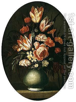Still life of flowers, including tulips, roses, carnations, daffodils, morning glory, lilies and snowdrops in a vase by (after) Hans Bollongier - Reproduction Oil Painting