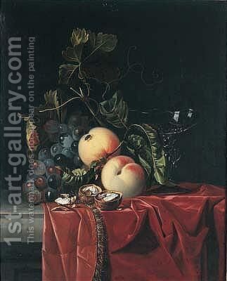 A Still Life Of Grapes, Peaches, Walnuts And A Wine Glass Upon A Ledge Draped With A Red Cloth by (after) Isaak Denies - Reproduction Oil Painting