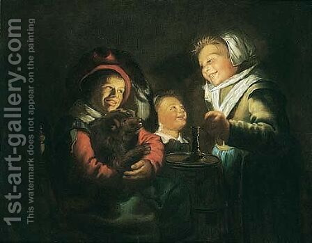 Children Playing With A Dog By Candlelight by Jan Miense Molenaer - Reproduction Oil Painting