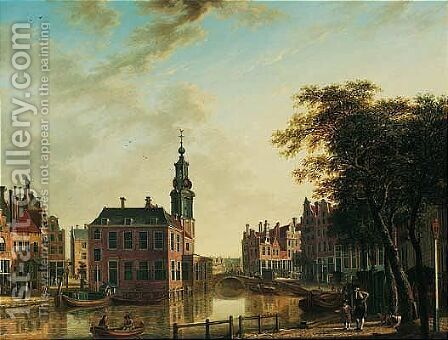 Amsterdam, A View Of The Munt Tower And The Doelenshuis On The Singel by Jan the Younger Ekels - Reproduction Oil Painting