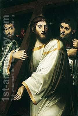 Christ Carrying The Cross, Flanked By Roman Soldiers by (after) Jacopo Ligozzi - Reproduction Oil Painting