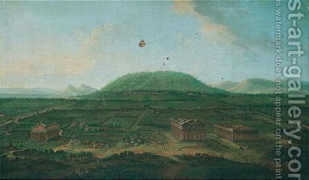 View of the temples at paestum by (after) Antonio Joli - Reproduction Oil Painting