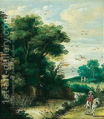 A river landscape with a falconer and other figures on a path by (after) Isaac Van Oosten - Reproduction Oil Painting