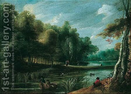 A wooded river landscape with fishermen by (after) Jaques D'Arthois - Reproduction Oil Painting