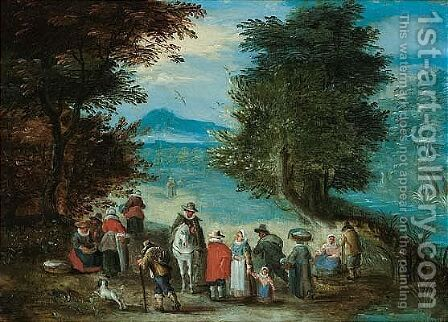 A landscape with travellers resting by the roadside by (after) Charles Beschey - Reproduction Oil Painting