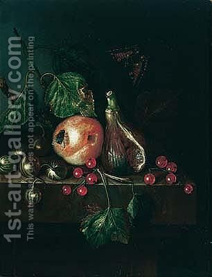 Still life of a fig, a plum, gooseberries and redcurrants, together with a fly and a tortoiseshell butterfly, upon a stone ledge by (after) Catharini Treu - Reproduction Oil Painting
