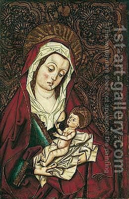 The virgin and child by (after) Fernando Gallego - Reproduction Oil Painting