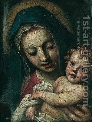 The Madonna And Child by Jacopo d'Antonio Negretti (see Palma Giovane) - Reproduction Oil Painting