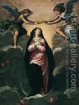 The Virgin Crowned By Angels by Ippolito Scarsella (see Scarsellino) - Reproduction Oil Painting