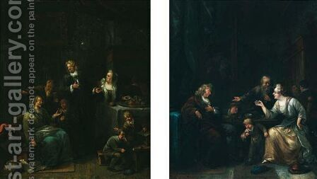 Interiors With Figures Conversing, Drinking by Bernardus Van Schendel - Reproduction Oil Painting