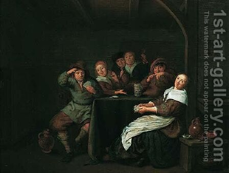 Interior With Figures Drinking And Playing Cards At A Table by Jan Miense Molenaer - Reproduction Oil Painting