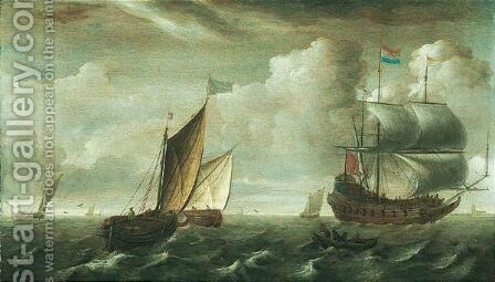 A Man Of War And Dutch Shipping Vessels On The Zuider Zee by (after) Jacob Gerritsz. Loeff - Reproduction Oil Painting