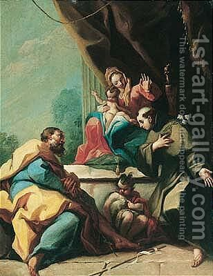 A 'Sacra conversazione' with Saint Anthony of Padua kneeling before the madonna and child by (after) Giambattista Pittoni - Reproduction Oil Painting