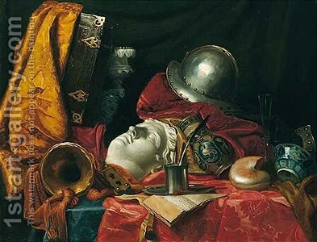 Still life with a helmet, trumpet, shell, stoneware vase, blue-and-white porcelain bowl by (after) Jean-Baptiste Huet I - Reproduction Oil Painting