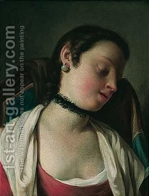 A portrait of a young girl, head and shoulders, sleeping in a chair by (after) Pietro Antonio Rotari - Reproduction Oil Painting