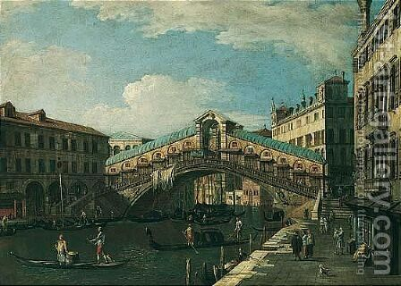 Venice, a view of the Rialto by (after)  (Giovanni Antonio Canal) Canaletto - Reproduction Oil Painting