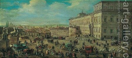 Rome, a view of the quirinal by (after) Caspar Andriaans Van Wittel - Reproduction Oil Painting