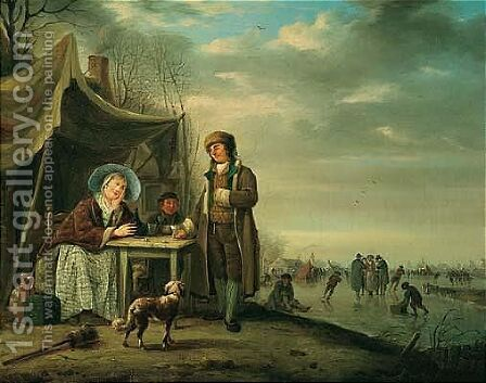 Winter Landscape With Figures Drinking By A Frozen River, Others Skating Beyond by Andries Vermeulen - Reproduction Oil Painting