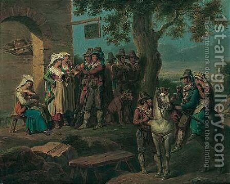 A Hunting Party Resting Before A House by Alexandre-Jean Noel - Reproduction Oil Painting