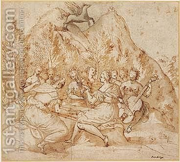 The Muses With Pegasus On Mount Parnassus by (after) Johann Rottenhammer - Reproduction Oil Painting