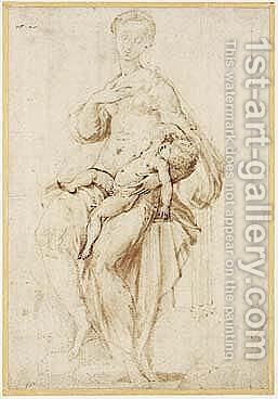 Study For The 'Madonna Dal Collo Lungo' by Girolamo Francesco Maria Mazzola (Parmigianino) - Reproduction Oil Painting