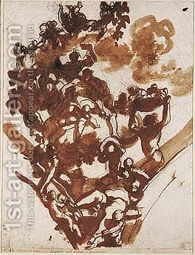 Design For A Ceiling Decoration With Silenus by Domenico Piola - Reproduction Oil Painting