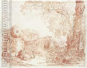 Landscape, With A Girl Playing With A Dog By A Fountain, With Ruins Behind And Trees To The Right by Hubert Robert - Reproduction Oil Painting