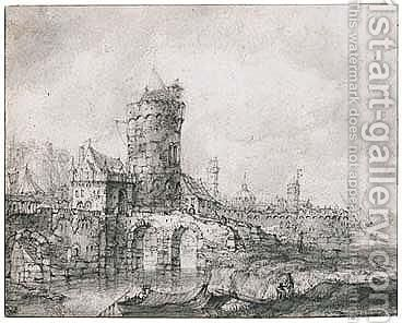 View Of The Fortified Gate And Walls Of A Riverside Town by Jan Abrahamsz. Beerstraten - Reproduction Oil Painting