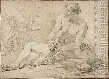 Academy Study Of A Male Nude As A Hermit Seated In A Landscape by Charles Joseph Natoire - Reproduction Oil Painting