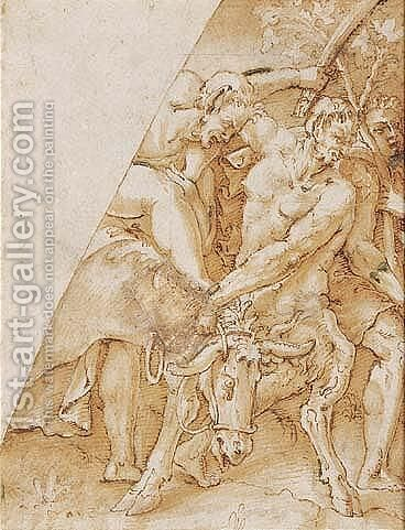 Design For Part Of A Spandrel Decoration With A Bacchic Procession by (after) Giulio Campi - Reproduction Oil Painting