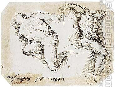 Studies Of Two Male Nude Figures by Jacopo d'Antonio Negretti (see Palma Giovane) - Reproduction Oil Painting