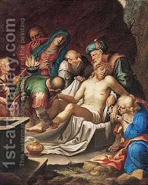 The Descent From The Cross 2 by (after) Giovanni B. (Il Genvovese) Castello - Reproduction Oil Painting