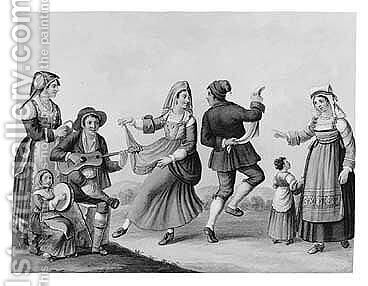 Peasants Dancing by (after) Saviero Xavier Della Gatta - Reproduction Oil Painting