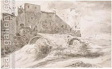 Italianate Landscape, With A Bridge Leading Up To A Town Gate by (after) Andries Both - Reproduction Oil Painting