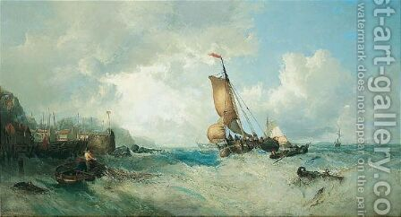 Off The Harbour Mouth by James Webb - Reproduction Oil Painting