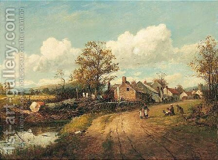 By The Village Pond by David Bates - Reproduction Oil Painting