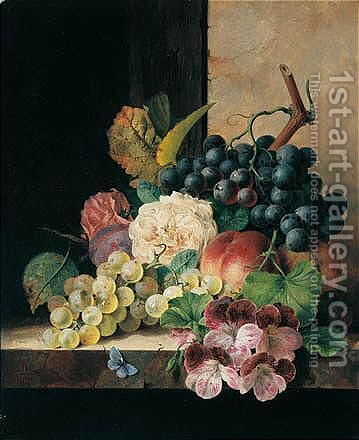 Still Life With Fruit, Flowers And Butterfly by Edward Ladell - Reproduction Oil Painting